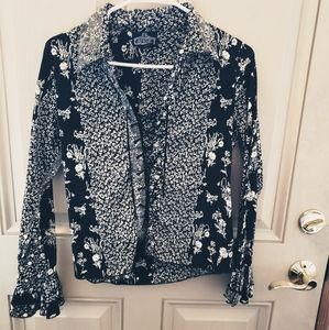 Angie Draw String  Boho Floral Top w/Flowy Sleeves